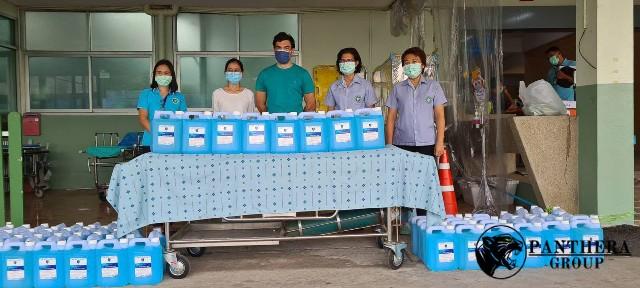 กลุ่มบริษัทแพนเธราร่วมต่อสู้กับการระบาดครั้งใหม่ มอบเจลแอลกอฮอล์ 5,000 ลิตร ให้แก่โรงพยาบาลทั่วกรุงเทพฯ